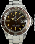 ROLEX SUBMARINER MK1-RED-METERS FIRST INCREDIBLE TROPICAL BROWN PATINA CIRCA 1969