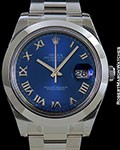 ROLEX DATEJUST II STEEL BLUE ROMAN DIAL NEW BOX & PAPERS