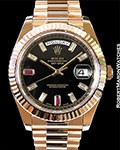 ROLEX DAY DATE 2 218235 18K ROSE BLACK RUBY DIAMOND DIAL NEW BOX PAPERS