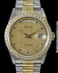 ROLEX VINTAGE DAY DATE TRIDOR MYRIAD DIAL DIAMOND BEZEL 18039B