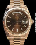 ROLEX DAY DATE 18K EVEROSE DIAMOND MARKERS