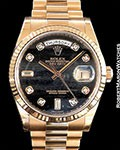 ROLEX 118235 DAY DATE 18K EVEROSE FERRITE DIAL W/ DIAMOND MARKER NEW