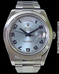 ROLEX DAY DATE 2 218206 PLATINUM 41MM BLUE ARABIC DIAL BOX PAPERS