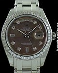 ROLEX MASTERPIECE DAY DATE PRESIDENT PLATINUM BAGUETTE DIAMOND BEZEL TAHITIAN MOTHER OF PEARL DIAL 18956