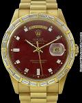 ROLEX 18368 DAY DATE YELLOW GOLD PRESIDENT BRACELET RED STELLA DIAL BAGETTE BEZEL