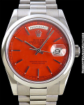 ROLEX 118039 DAY DATE WHITE GOLD RED STELLA DIAL