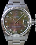 ROLEX LADY'S 31MM DATEJUST TAHITIAN MOTHER OF PEARL 18K WHITE GOLD/STEEL