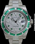 ROLEX SUBMARINER 18K WHITE GOLD BAGUETTE EMERALD BEZEL PAVE DIAMOND DIAL & BRACELET NEW BOX & PAPERS