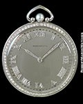 TIFFANY PLATINUM POCKET WATCH DIAMOND BEZELS, NUMERALS & HANDS PEARL CROWN