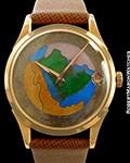 UNIVERSAL GENEVE SAUDI ARABIA CLOISSONE ENAMEL DIAL 18K ROSE GOLD SCREWBACK AUTOMATIC