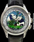 VULCAIN CLOISONNE PANDAS WORLDTIME ALARM WATCH 18K WHITE GOLD LIMITED EDITION NEW
