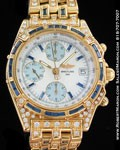 BREITLING CHRONOGRAPH 18K DIAMONDS & SAPPHIRES