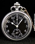 WAKMANN MILITARY PILOT'S POCKET WATCH CHRONOGRAPH STEEL SCREW BACK BREITLING MOVEMENT